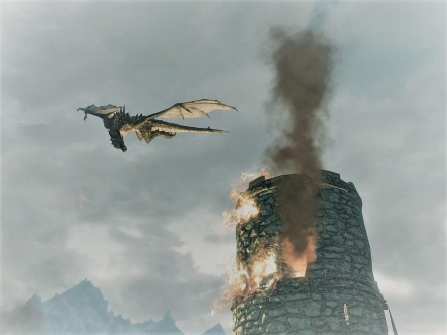 skyrim western watchtower dragon